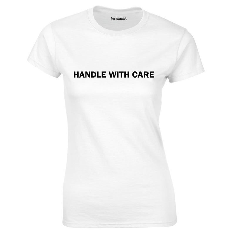 Handle With Care Ladies Top In White
