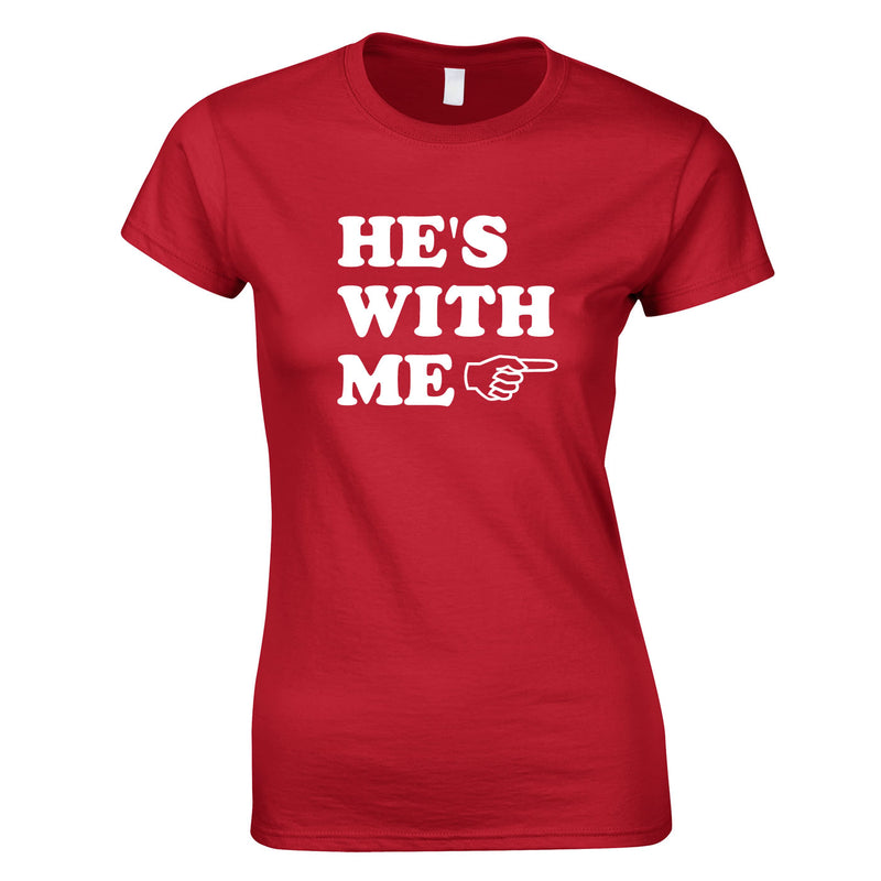 He's With Me Ladies Top In Red