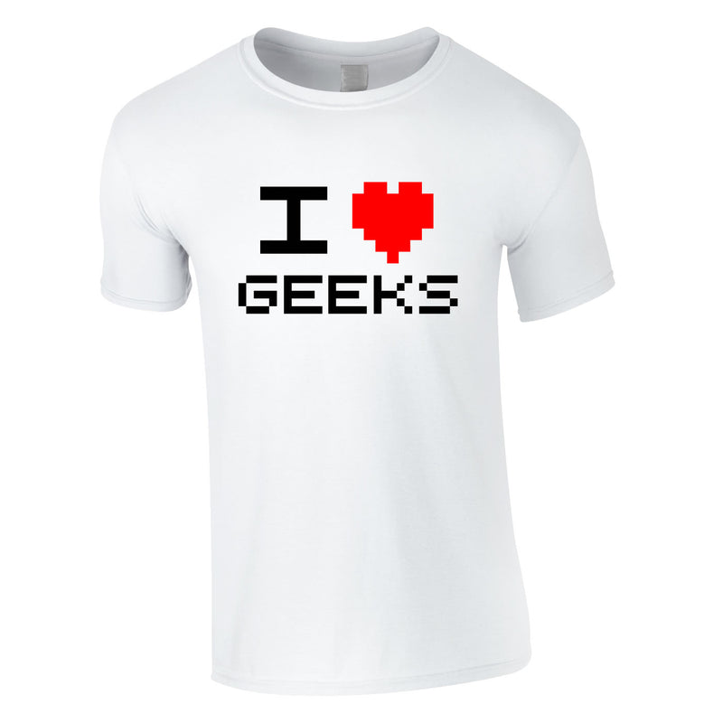 I Love Heart Geeks Retro Tee In White