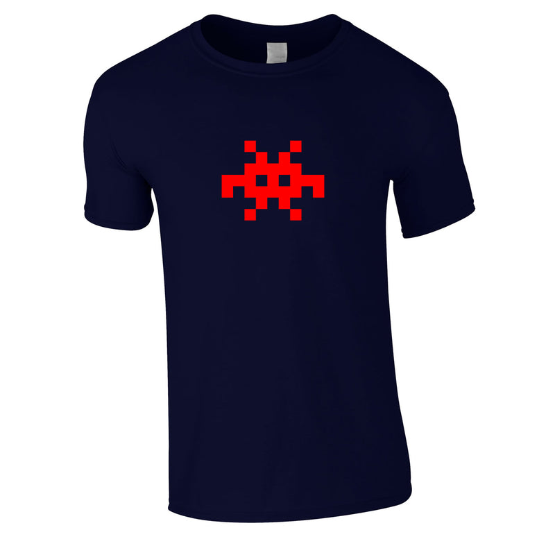 Invader Retro Graphic Tee In Navy