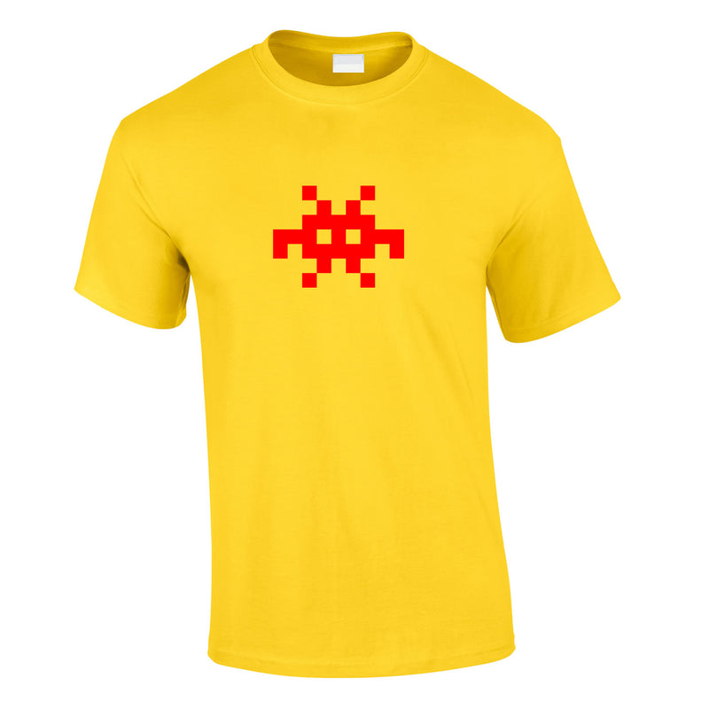 Invader Retro Graphic Tee In Yellow