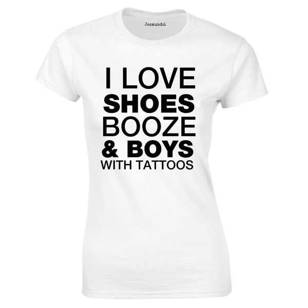 SALE - Love Boys Shoes Tattoos Womens Tee MEDIUM