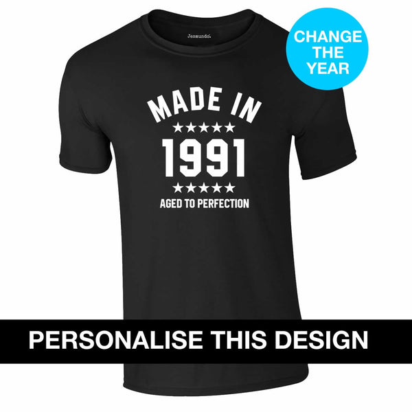 Personalised Made In Year Birthday T-Shirt