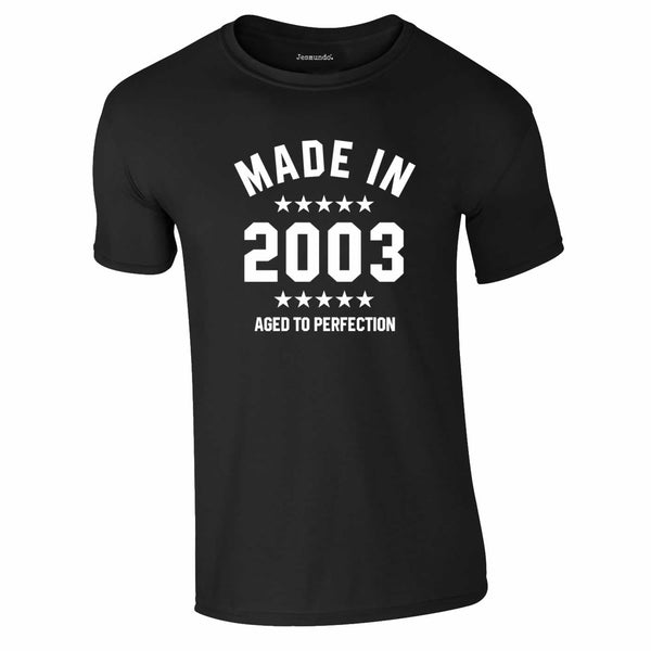 Made In 2003 18th Birthday Tee In Black