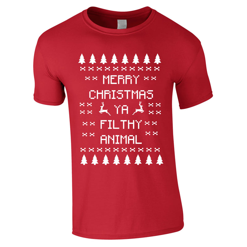 Merry Christmas Ya Filthy Animal Tee In Red