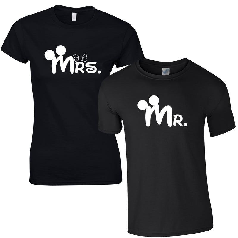 MR & Mrs T Shirts In Black