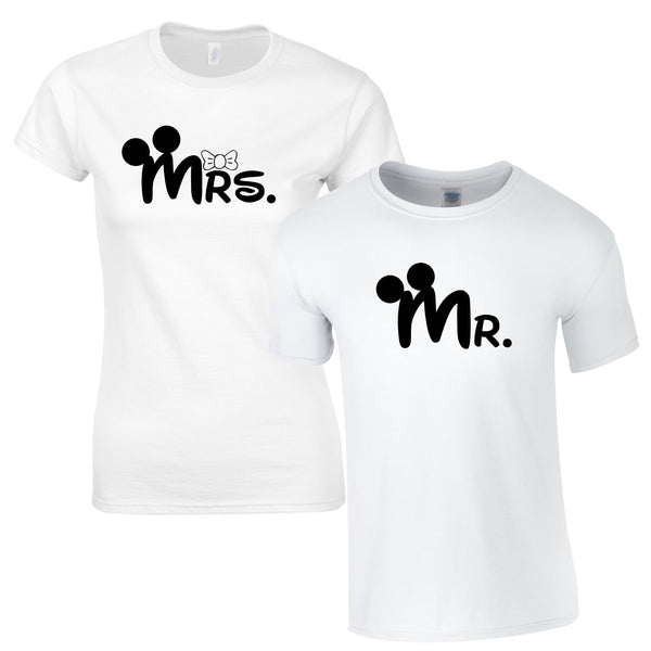 MR & Mrs T Shirts In White