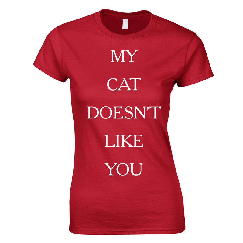 My Cat Doesn't Like You Top In Red