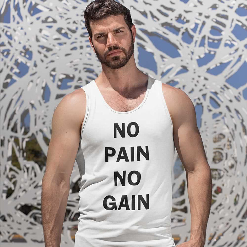 No Pain No Gain Slogan Vest Top For Men