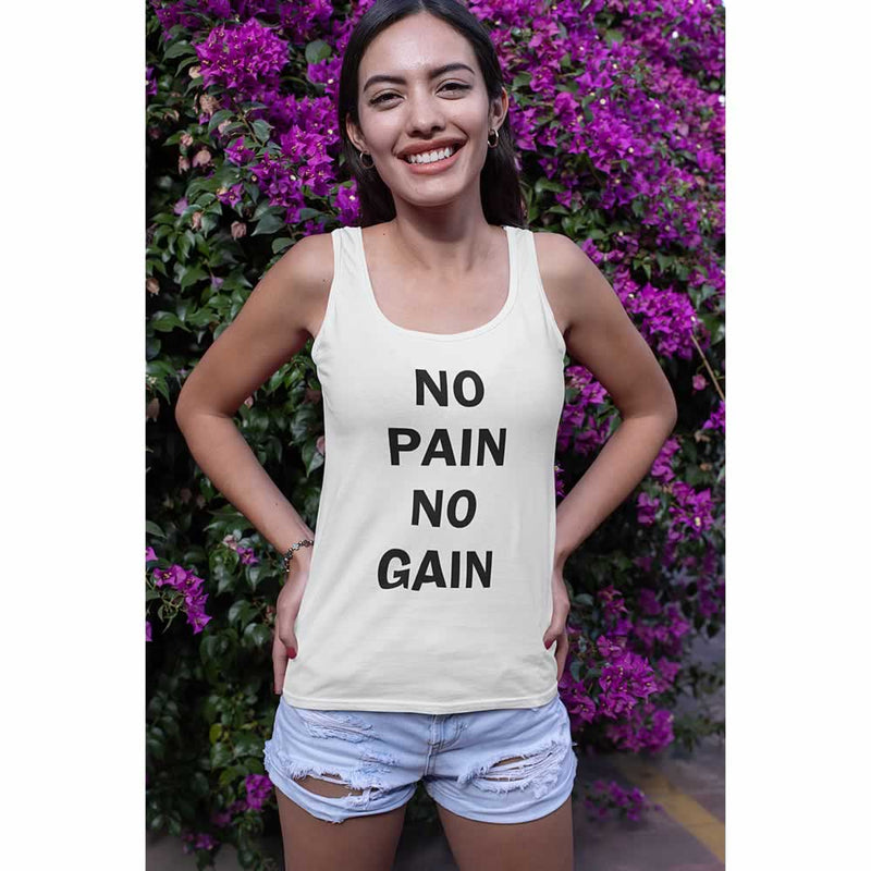 No Pain No Gain Slogan Vest Top For Women