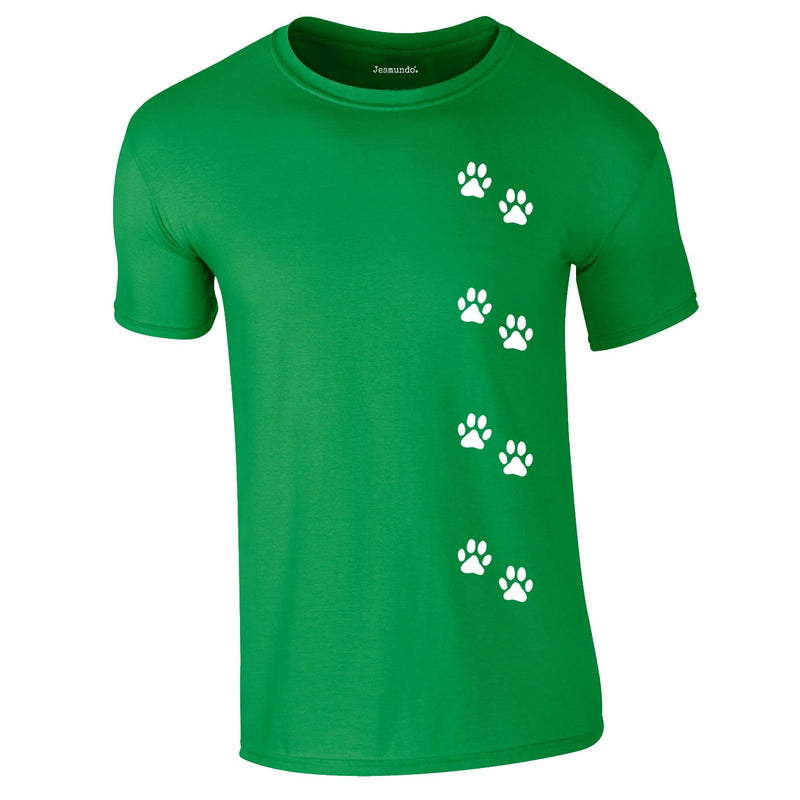 Dog Paws Walking Tee In Green