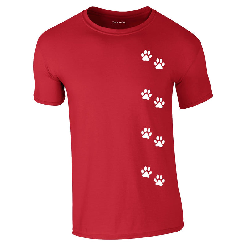 Dog Paws Walking Tee In Red