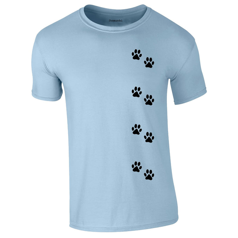 Dog Paws Walking Tee In Sky