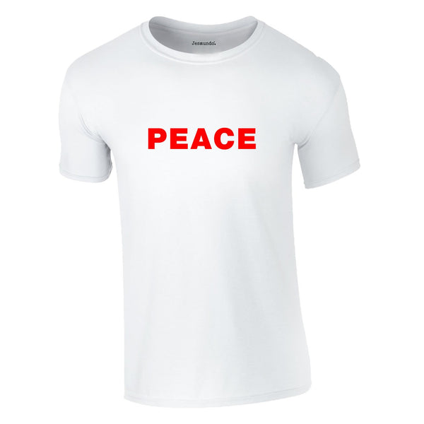 Peace Slogan Tee In White