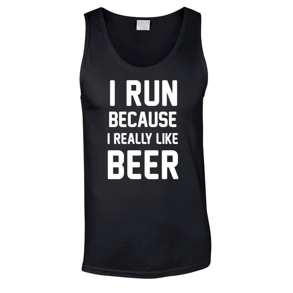 I Run Because I Like Beer Vest In Black