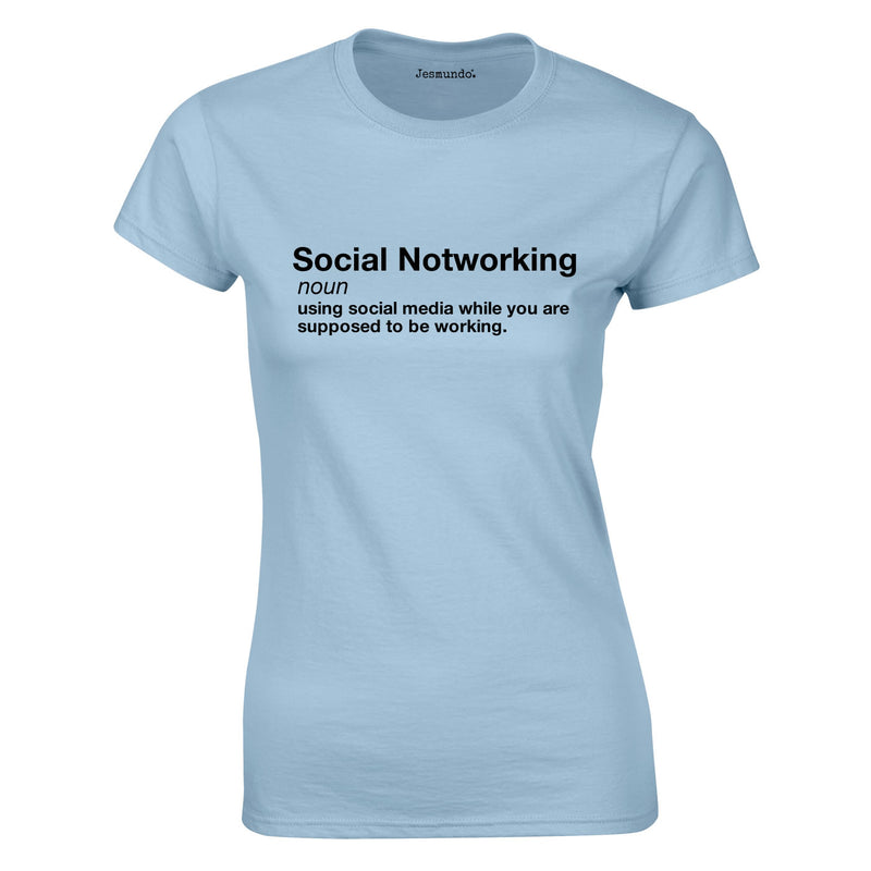 Social Notworking Ladies Top In Sky