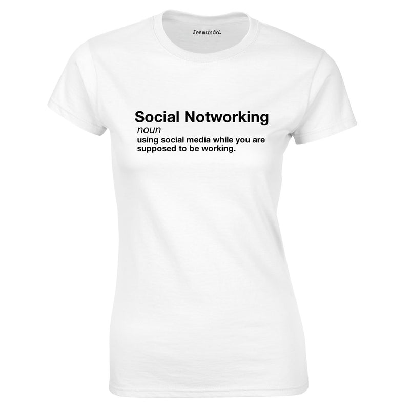 Social Notworking Ladies Top In White