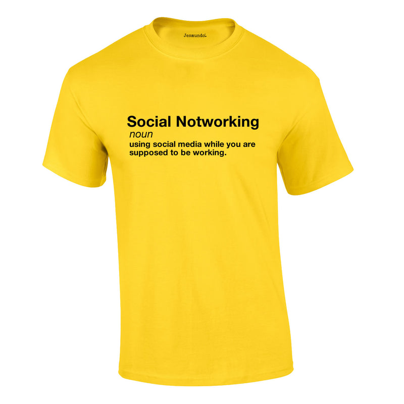 Social Notworking Tee In Yellow