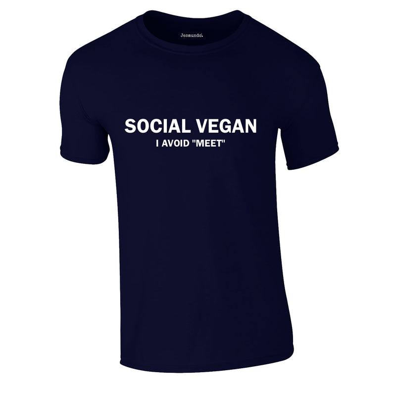 Social Vegan I Avoid Meet Tee In Navy