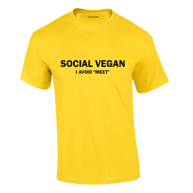 Social Vegan I Avoid Meet Tee In Yellow