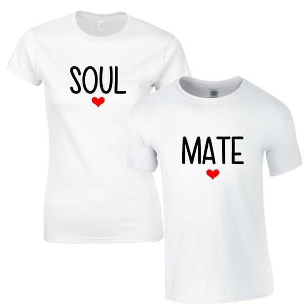 Soul Mates Couples Tees In White