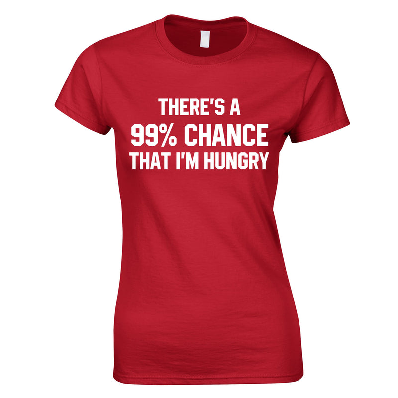 There's A 99% Chance That I'm Hungry Ladies Top In Red