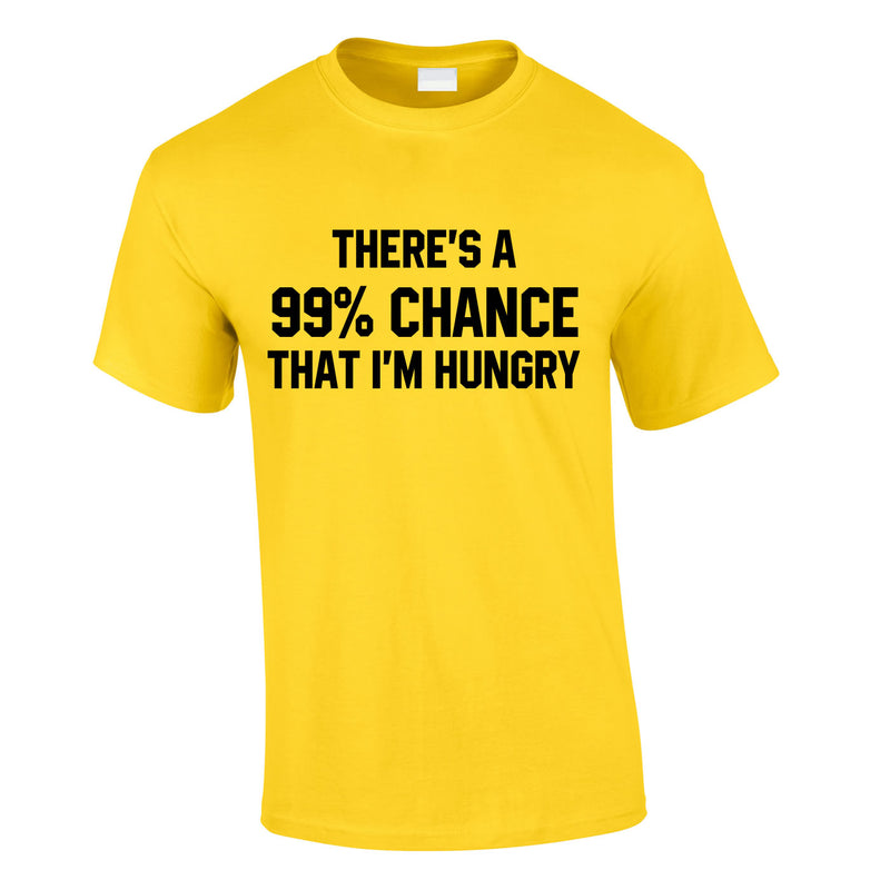 There's A 99% Chance That I'm Hungry Men's Tee In Yellow