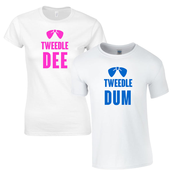 Tweedle Dum And Tweedle Dee Couples Tees In White
