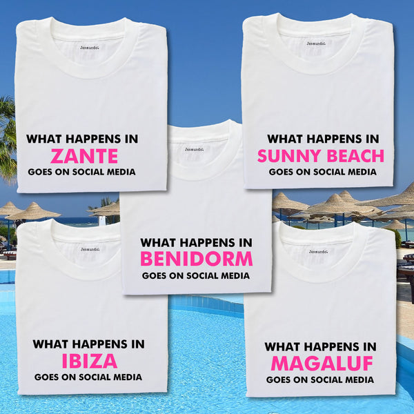 What Happens In...Goes On Social Media Girls Holiday T Shirts