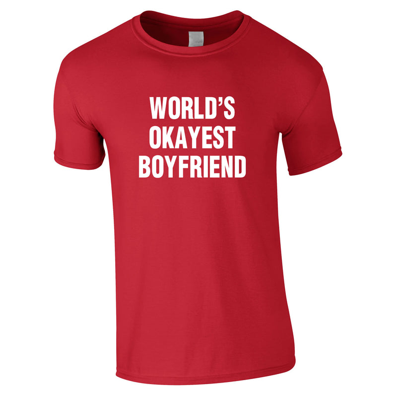 World's Okayest Boyfriend Tee In Red