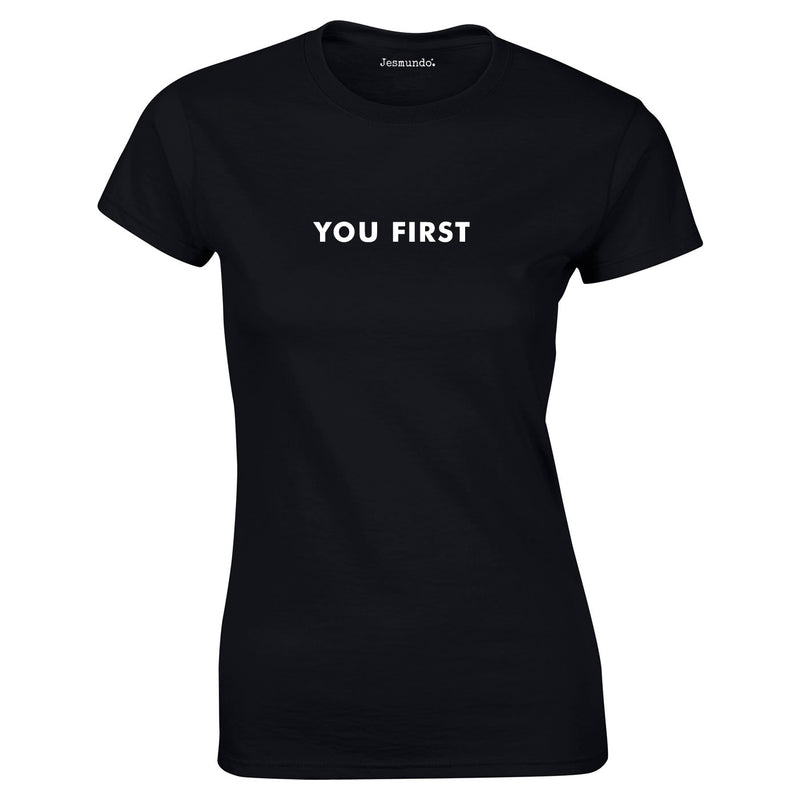 You First Slogan Top In Black