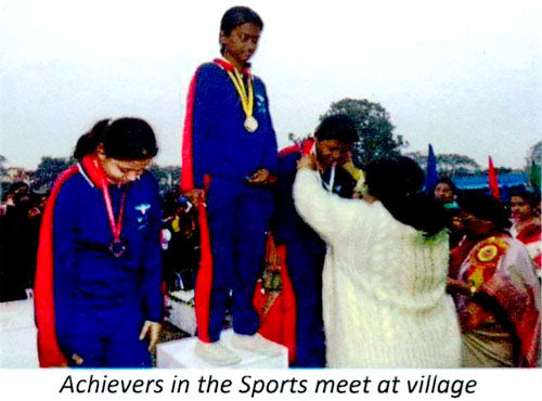 Achievers in the sports meet at village