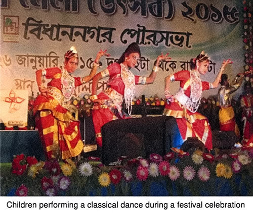 Children performing a classical dance during a festival celebration