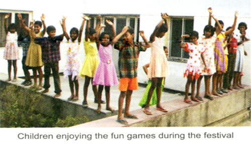 Children enjoying the fun games during the festival