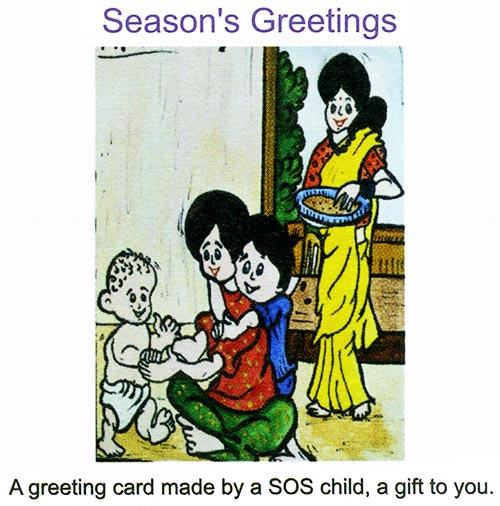 A greeting card made by a SOS child, a gift to you