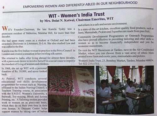 Women's India Trust - Newspaper Clipping