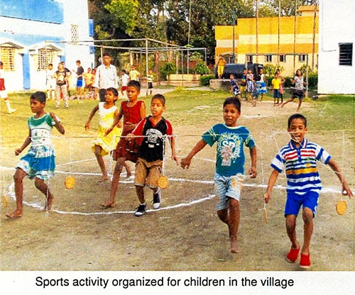 Sports activity organized for children in the village