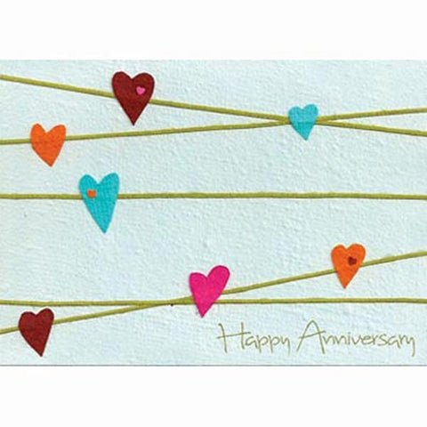 Fair Trade Anniversary Card - 'Anniversary Hearts'