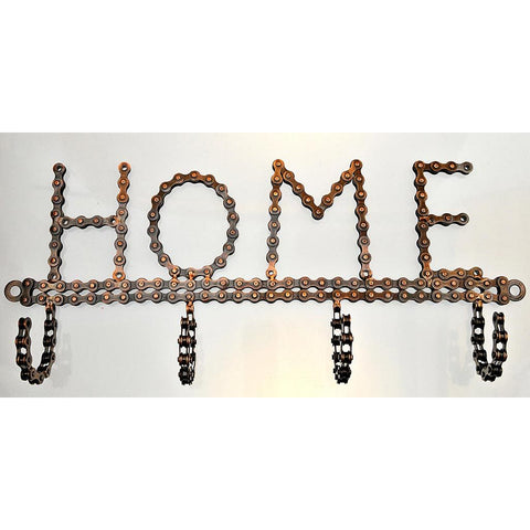 Fair Trade Bicycle Chain Coathook - 'HOME'