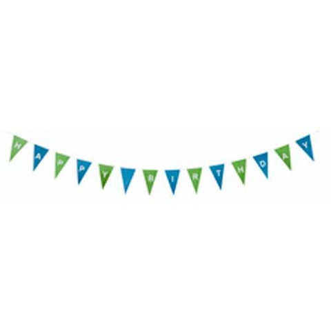 Fair Trade Bunting - Happy Birthday - Green/Blue