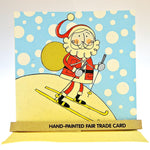 Fair Trade Christmas Card - Skiing Santa