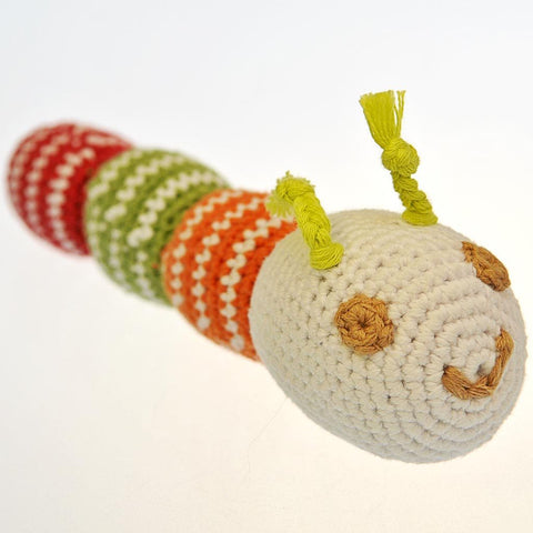 Fair Trade Crocheted Caterpillar Rattle - Red/Green/Orange