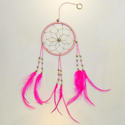 Fair Trade Dreamcatcher with Feathers & Beads - Silver and Pink