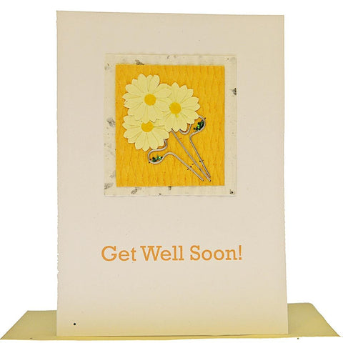 Fair Trade Get Well Soon Card - 'Flower Power'