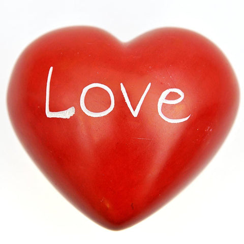 Fair Trade Large Soapstone Pebble - Red Heart, 'Love'