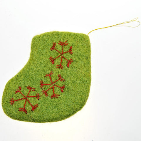 Fair Trade Mini Felt Stocking - Green/Red Snowflakes