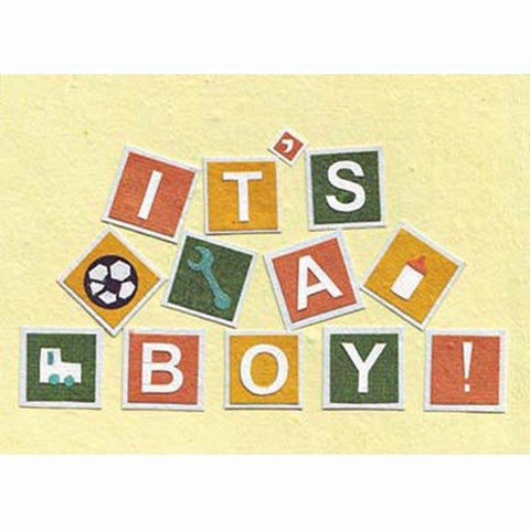 Fair Trade New Baby Boy Card - 'Pile Them Up, Boys!'