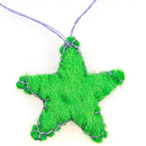 Fair Trade Small Felt Hanging Star Decoration - Green