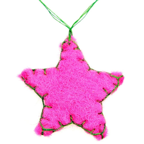 Fair Trade Small Felt Hanging Star Decoration - Pink