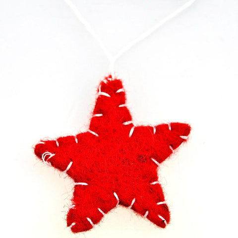 Fair Trade Small Felt Hanging Star Decoration - Red